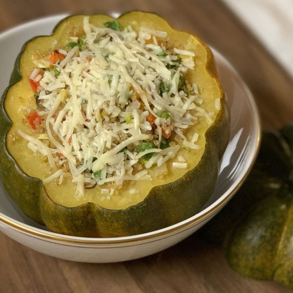 Quinoa & Vegetable Stuffed Squash with Asiago & Balsamic