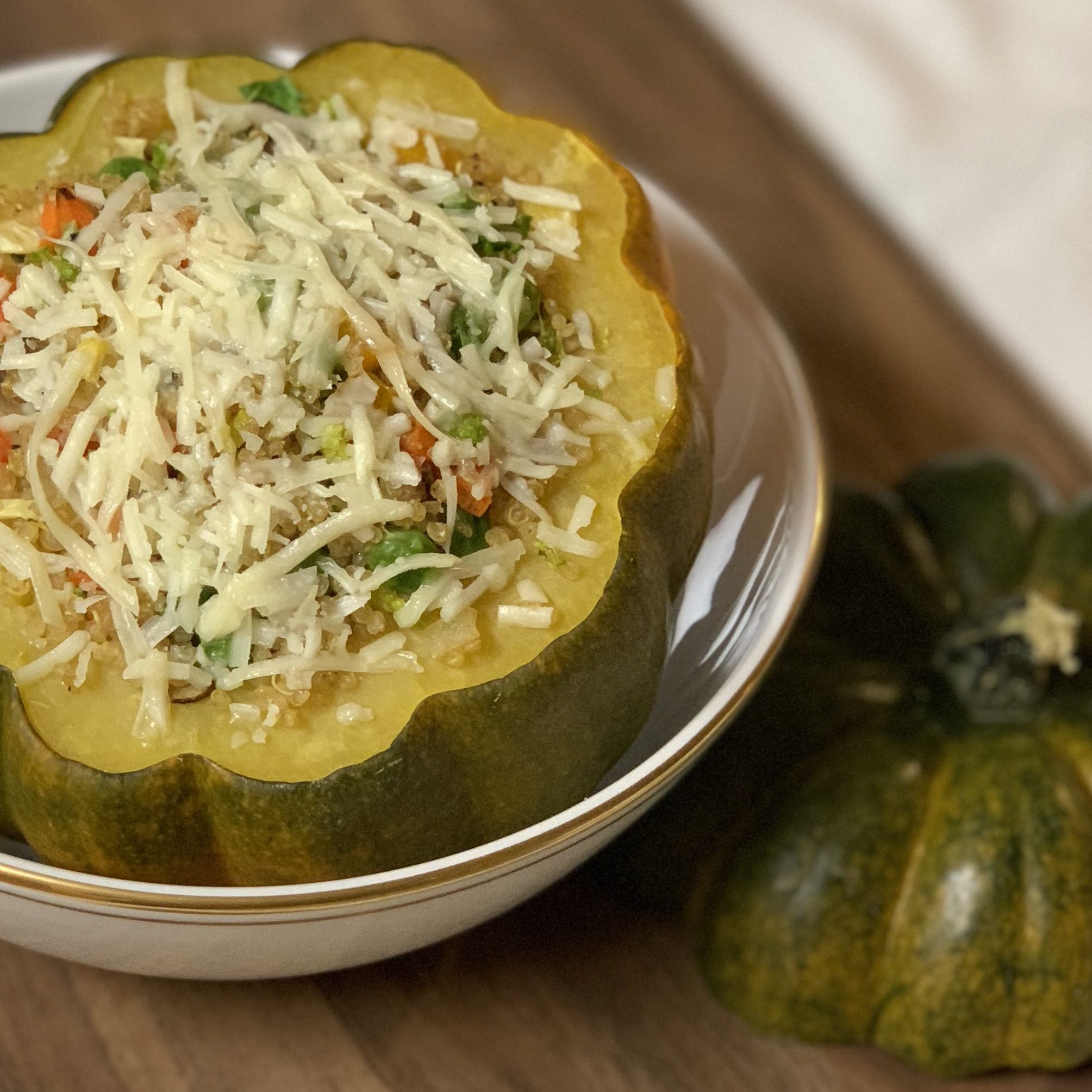 Quinoa & Vegetable Stuffed Acorn Squash with Asiago Cheese & Balsamic Vinegar