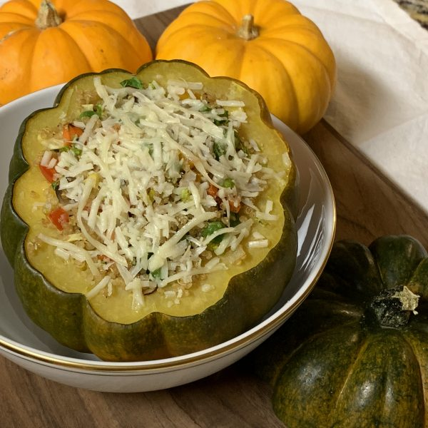 Quinoa & Vegetable Stuffed Acorn Squash with Asiago Cheese & Balsamic Vinegar