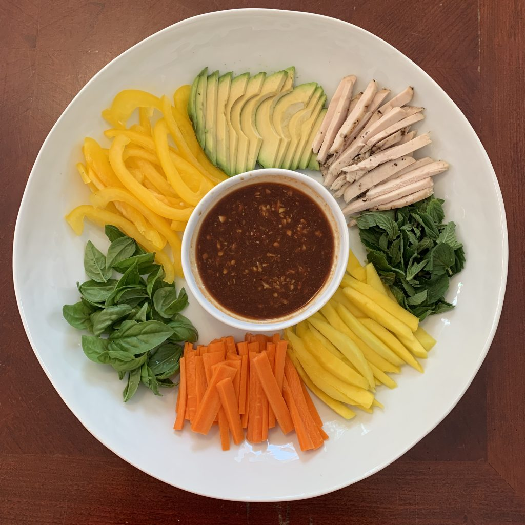 Fresh Spring Rolls with Chicken, Mango, and Avocado